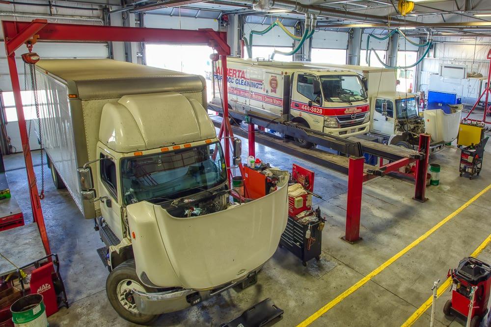Truck repair depot photography